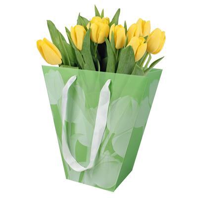 <h4>Bag Bright Tulips PP 24/12x11xH26cm green</h4>