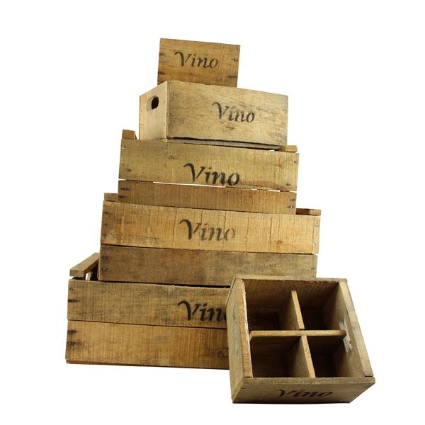 <h4>Set wijn kisten naturel (set van 6)</h4>
