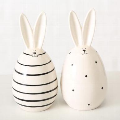 <h4>Figurine Friedo, 2 ass., Rabbit, H 17 cm, Stoneware, Black, Off-white stoneware colour-mix</h4>