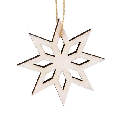 <h4>Hanger ster Elsa velvet hout 6x6cm+16cm touw wit</h4>