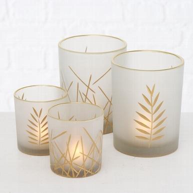<h4>Windlight Narino, 2 ass., H 8 cm, L 10 cm, Glass laquered, Silver Quantity in set: 1; glass laquered silver</h4>