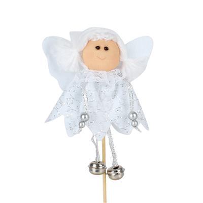 <h4>Bijsteker Engel met belletjes 10x10cm+15cm st wit</h4>