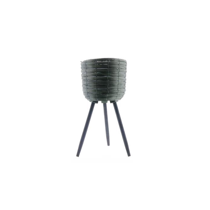 <h4>Basket W/feet Ø25x45 Green/blk</h4>