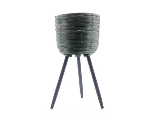 <h4>Basket W/feet Ø25x45 Green/blk</h4>