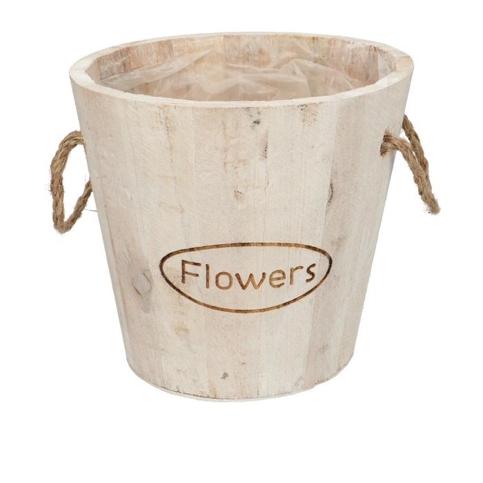 <h4>Hout Flowers pot d16*15cm + handvat</h4>