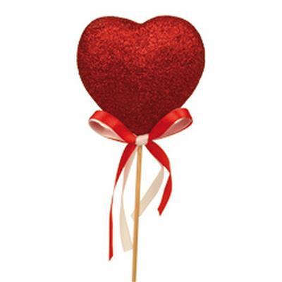 <h4>Tiges coeur 5cm + noeud sur tige 12cm rouge</h4>