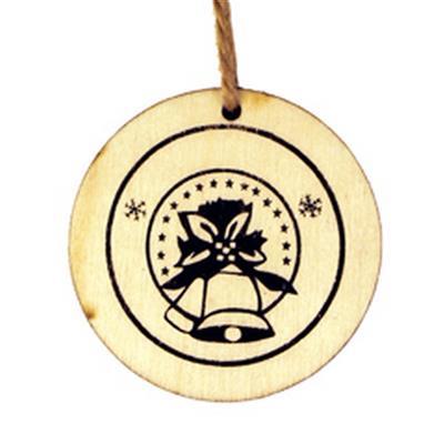 <h4>Hanger schijf kerstklok hout Ø5,5cm +16cm touw</h4>