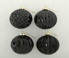 <h4>Christmas ball Elegant, 4 ass., Ball, D 10 cm, Glas lackiert, Black glass laquered black</h4>