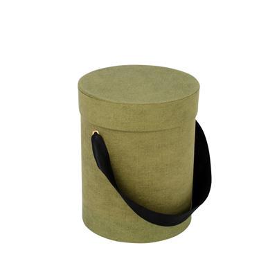 <h4>Carton à chapeau Fabric+ruban Ø13xH17cm vert</h4>