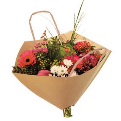 <h4>Bouquetbag Bro-lux 35x35cm brown kraft + handles</h4>