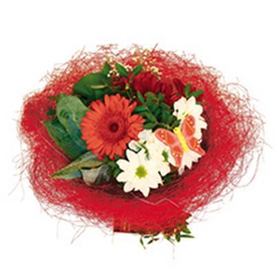 <h4>Bouquet holder sisal round loose Ø30cm red</h4>