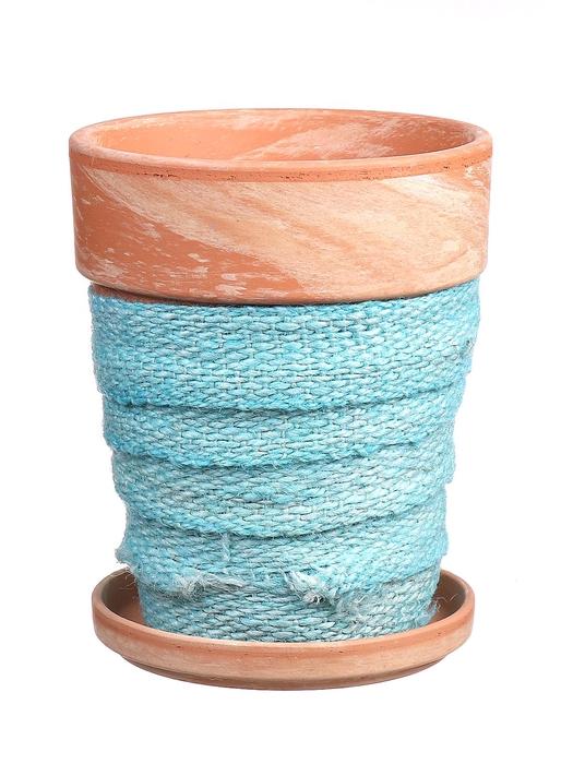 <h4>DF010057837 - Pot+saucer Lilo+jute blue d11.6cm</h4>