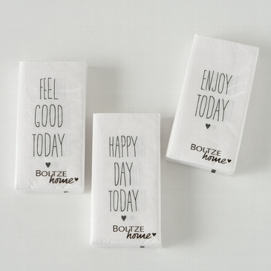 <h4>Napkins Happy, 12 p., 3 ass., Saying/Text, Typography, Black, White, Paper paper colour-mix</h4>