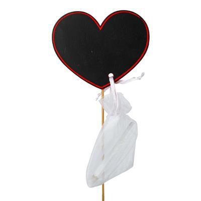 <h4>Bijsteker hart krijtbord hout 8x10cm + 50cm stok</h4>