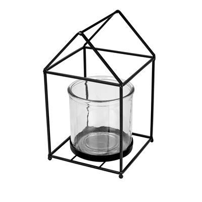 <h4>Lantaarn Florence metaal zwart + 1xglas Ø12xH12cm</h4>