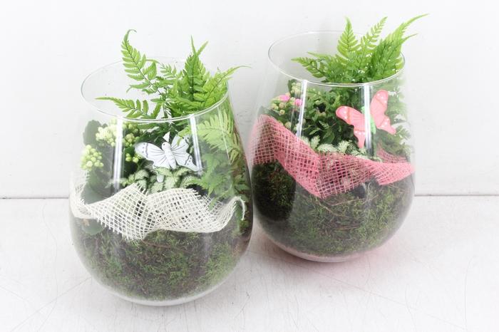 <h4>arr. PL - Glas vaas luxe - roze/wit</h4>