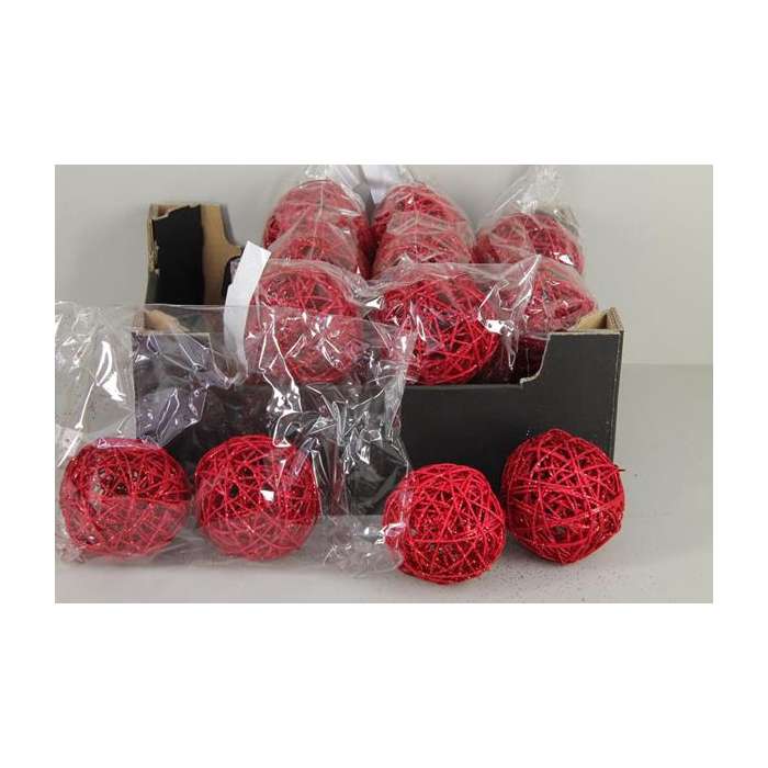 <h4>Bruce Ball 10cm Red Glitt(4pc)</h4>