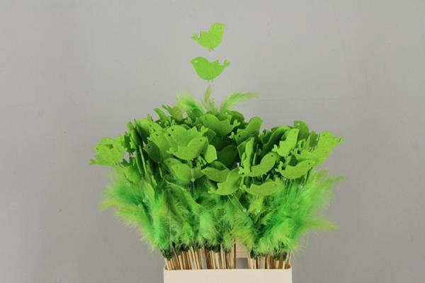 <h4>Stick Feather+prl+bird Green</h4>