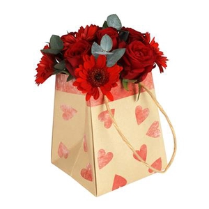 Bag Sweetheart kraft 12/12x15/15xH18cm red
