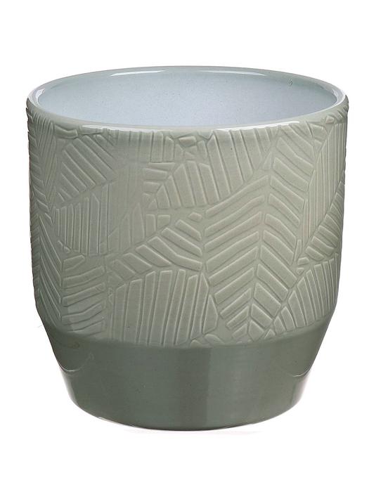 <h4>DF883654247 - Pot Pisa+leaf d13.5xh13.2 green glazed</h4>