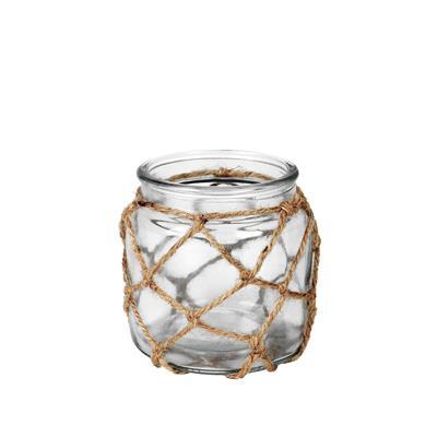 <h4>Vaas Marrakesh glas+touw Ø10xH10cm transparant</h4>