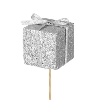 <h4>Bijsteker kado foam 5x5cm+12cm stok glitter zilver</h4>
