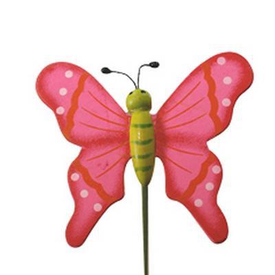 <h4>Pique Papillon flying bois 5x6cm+bâton 20cm rosé</h4>