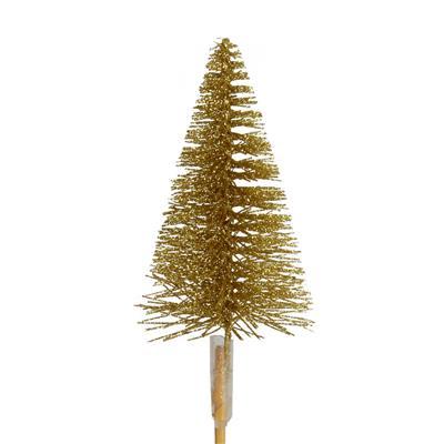 <h4>Bijsteker kerstboom glitter 7cm+12cm stok goud</h4>