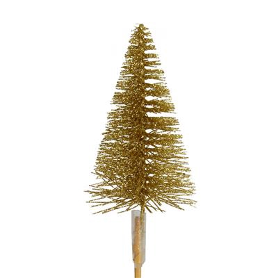 <h4>Pique Sapin de Noël glitter 7cm+12cm bâton or</h4>