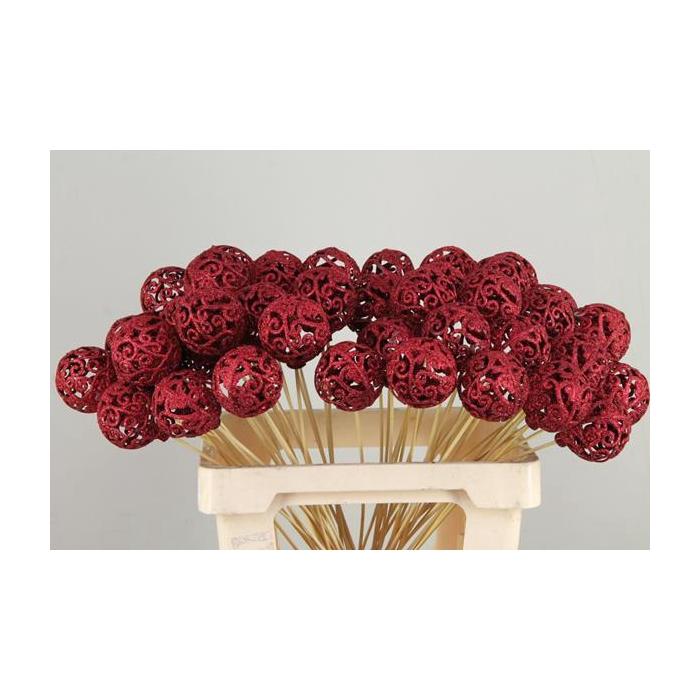 <h4>Stick Ball Baroque Ø6 Gl.red</h4>