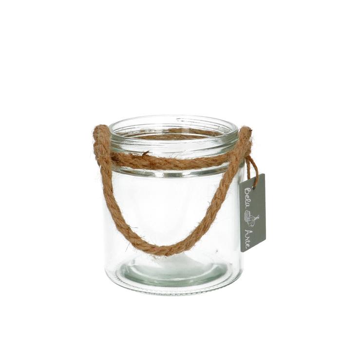 <h4>Glas Pot+touw d11*12cm</h4>