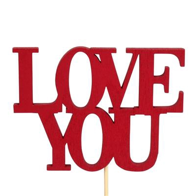 <h4>Bijsteker Love You hout 7x9,4cm+12cm stok rood</h4>