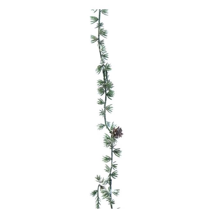 <h4>SILK FLOWERS - LARIKX GARLAND ICED W/CONES 180CM GREEN</h4>