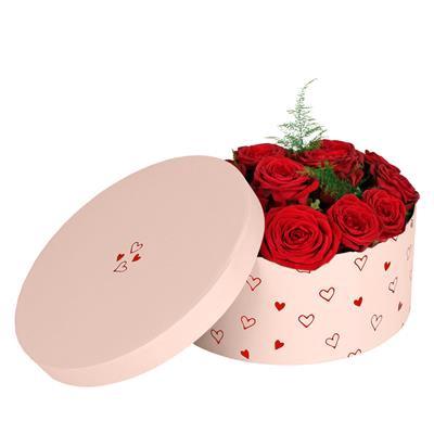 <h4>Hoedendoos Love story karton Ø22,5xH10cm roze</h4>