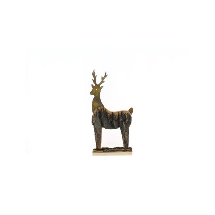 <h4>Fig. Wood+mtl. Deer 33x22cm</h4>