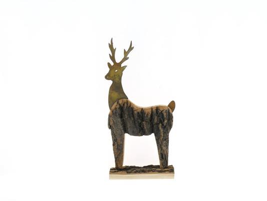 Fig. Wood+mtl. Deer 33x22cm