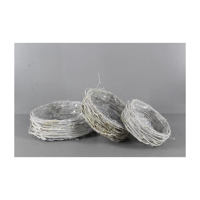 <h4>Basket Rattan S/3 Round H10cm</h4>