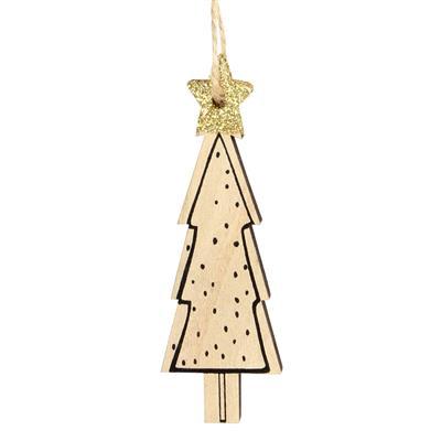<h4>Hanger kerstboom Dots hout 9x3,5cm+16cm touw</h4>