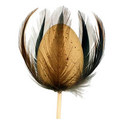 <h4>Pique Vanneau egg 6x4cm+les plumes+bâton 50cm brun</h4>
