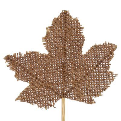 <h4>Bijsteker Maple Leaf jute 8x8cm+12cm stok bruin</h4>