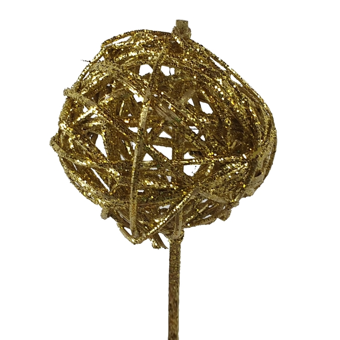 <h4>Bruce ball 5cm on stem Gold with glitter</h4>