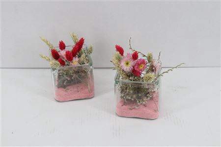 <h4>Arr. Dried Flowers Glass Vierkant Roze</h4>