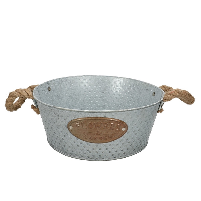 <h4>Zinc Dot tray+handle rope d25*10cm</h4>