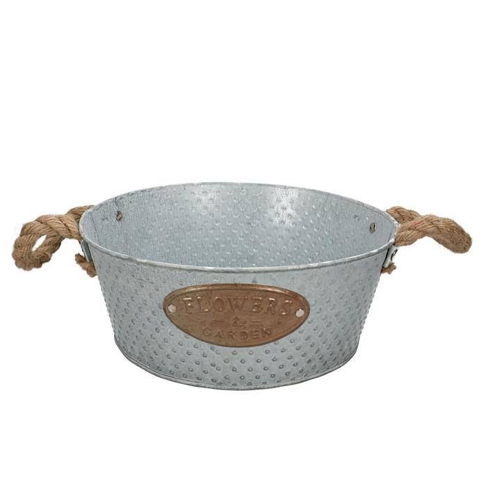 <h4>Zinc Dot tray+handle rope d25*10cm</h4>