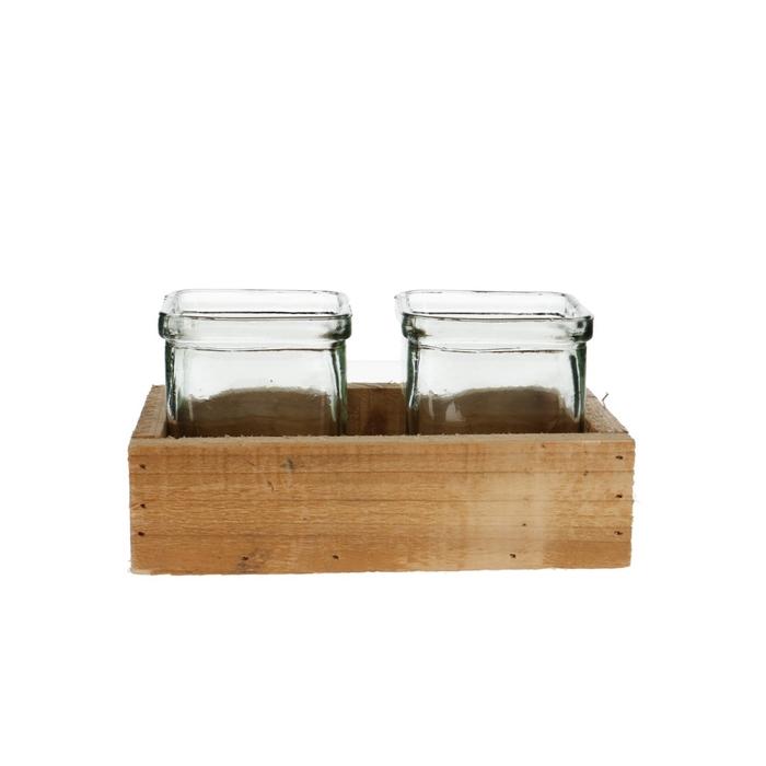 <h4>Glas Tray+2pot d19*5/10cm</h4>