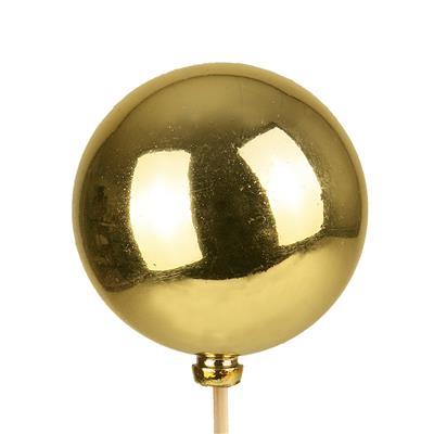 <h4>Bijsteker Kerstbal glans Ø6cm+50cm stok goud 100</h4>