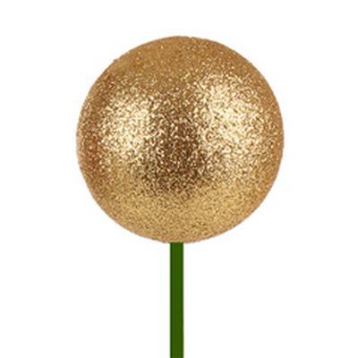 <h4>Bals de Noël Ø6cm d'or glitter sur tige 50cm</h4>