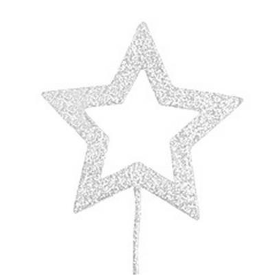 <h4>Étoile ouvrir ø9cm + pique 50cm éclat blanc</h4>