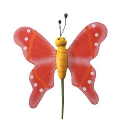 <h4>Pique Papillon flying  bois 5x6cm+bâton 20cm rouge</h4>