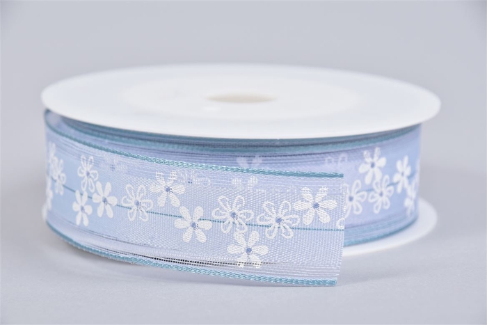 <h4>Lint Bloemen Blauw/wit 2,5cmx15m</h4>